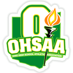 OHSAA logo with green and a flame