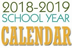 2018-2019 school calendar words