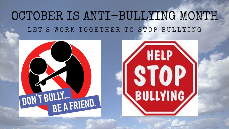 anti-bullying images with stop sign
