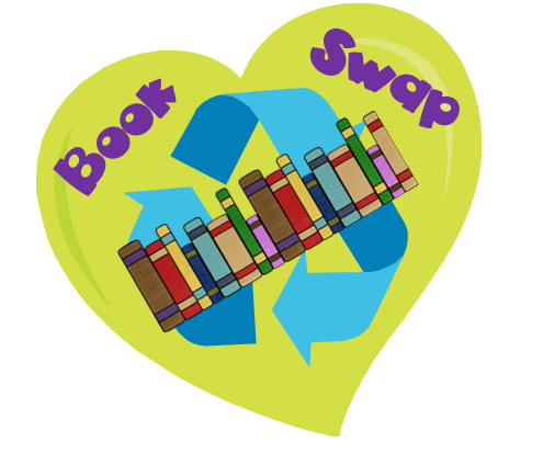 green heart with book swap words