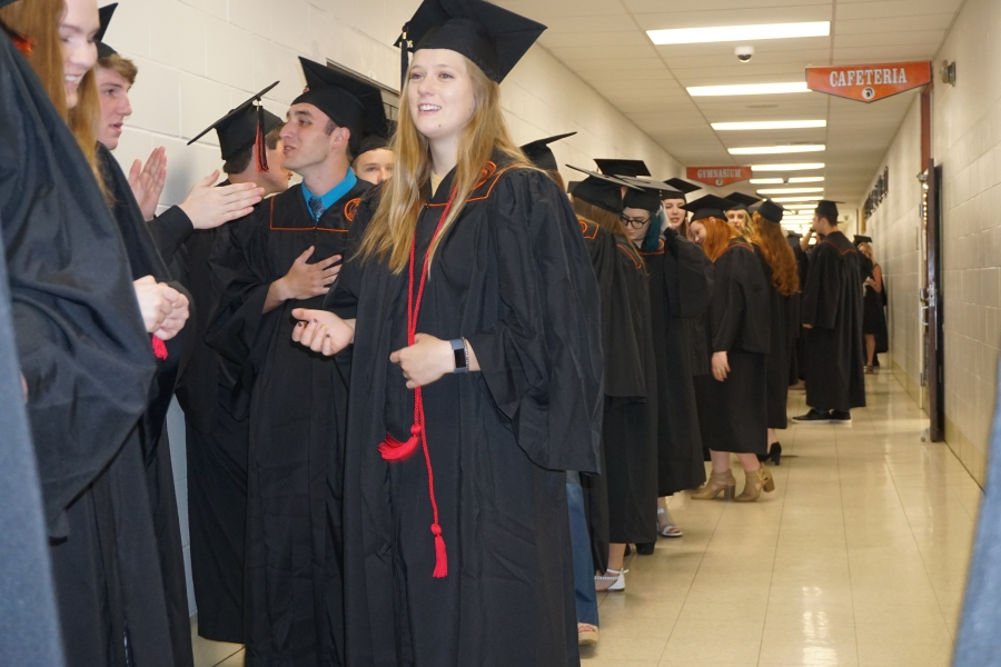 graduates lined up