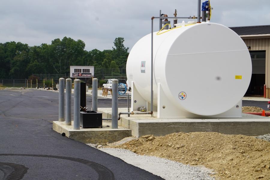 fuel tank with fresh asphalt