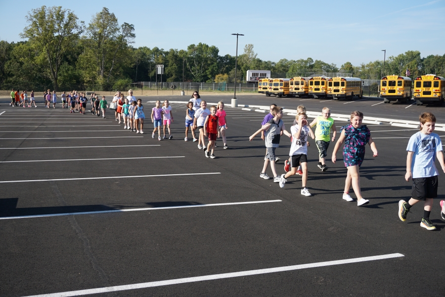 students walking in a row