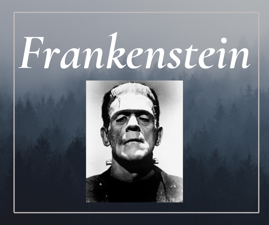 gray image with frankenstein head
