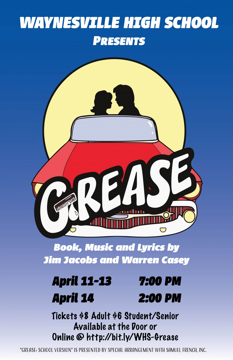 grease poster in blue