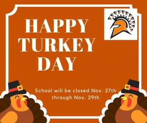 burnt orange background with turkeys