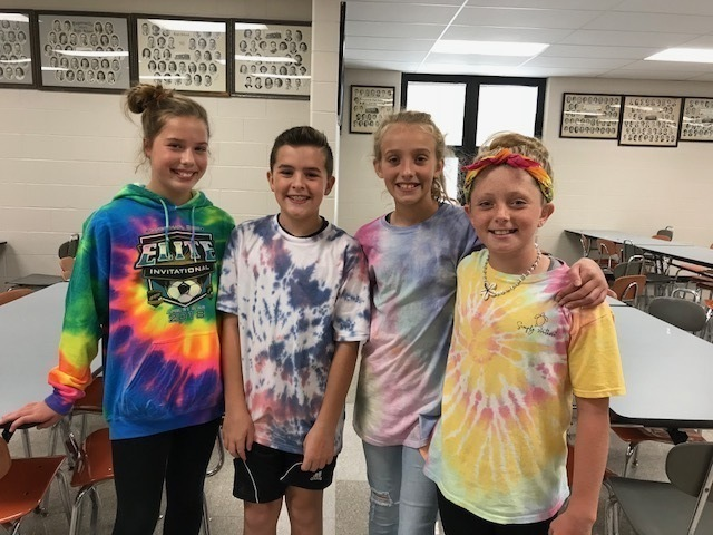 kids wearing tie dye