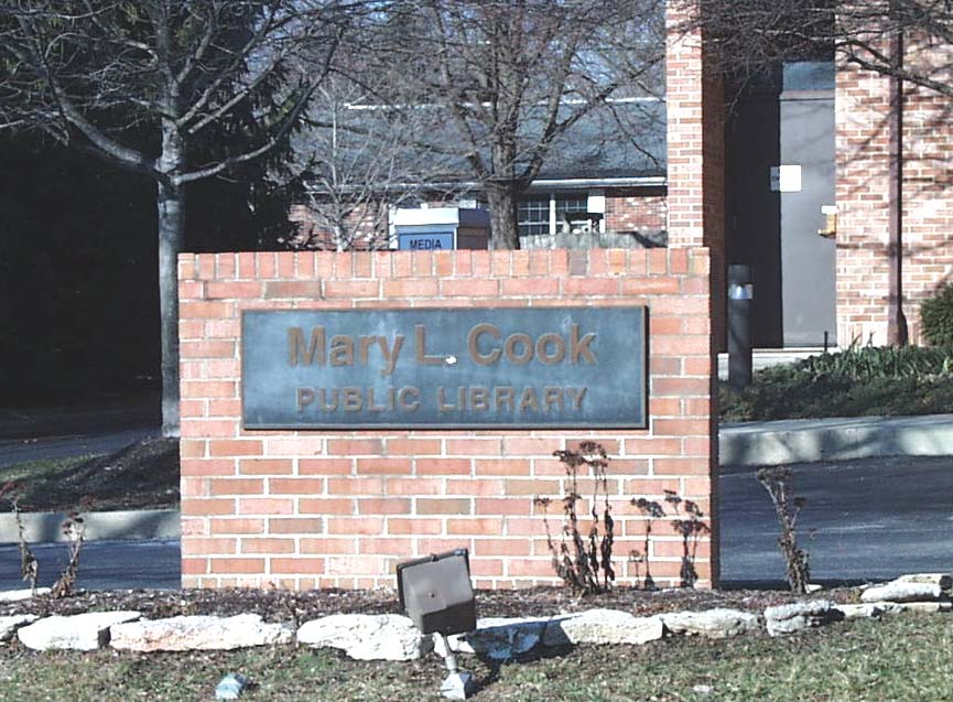 library sign in front of building