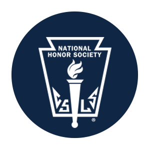 national honor society logo in blue with a torch