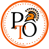 black and orange circular logo