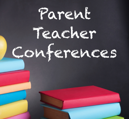 black board with parent teacher conference and books