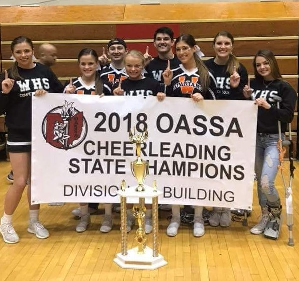cheerleading team holding a banner