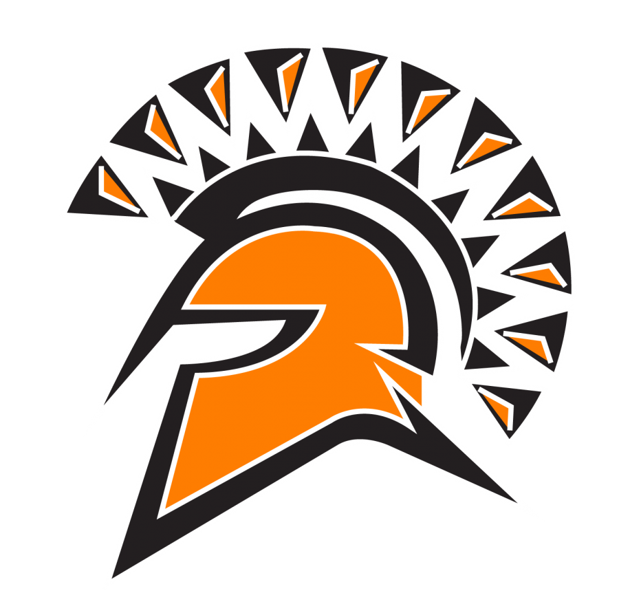 orange and white spartan head