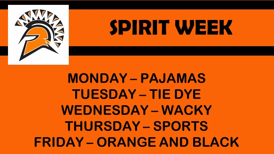 orange and black image with days of week