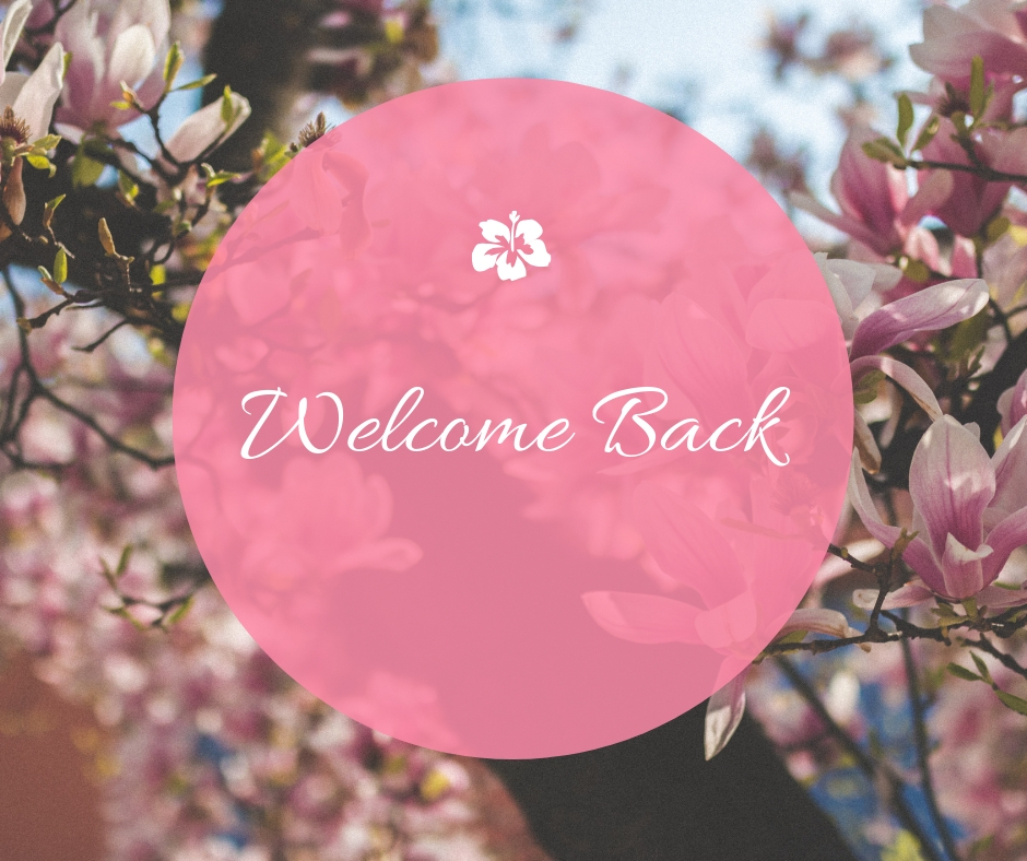 pink flowery background with welcome back