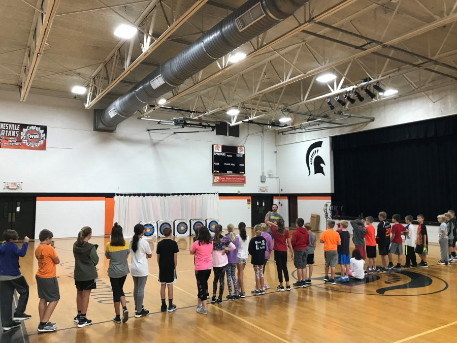 students standing in front of archery targets