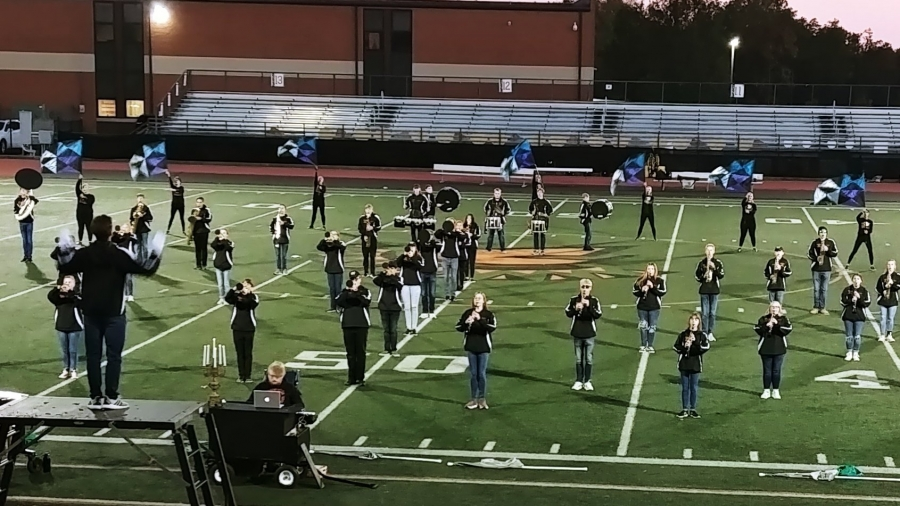 band on a field performing