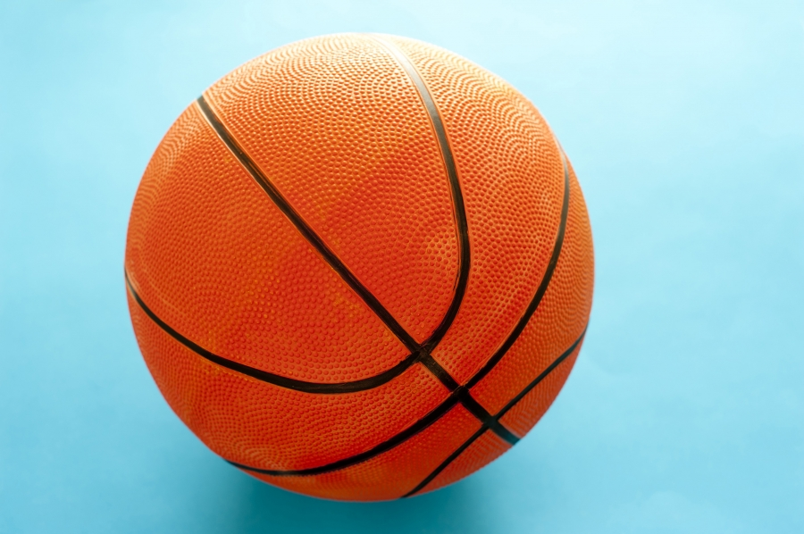 basketball with blue background