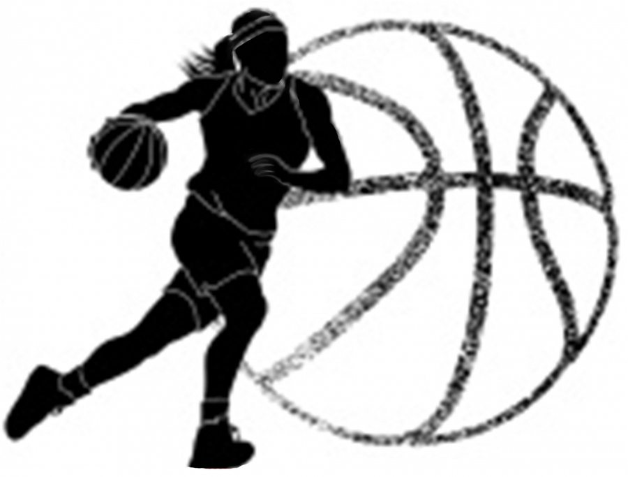 outline of a girl basketball player and a ball