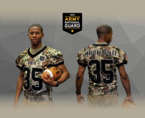 camo jersey on a football player front and back view