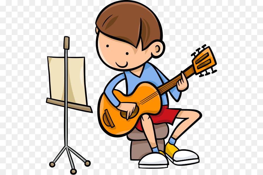 cartoon guy with guitar and music stand
