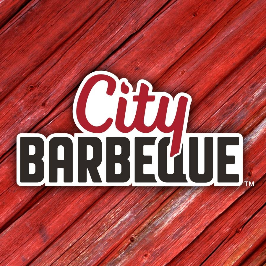 city barbeque logo on red background