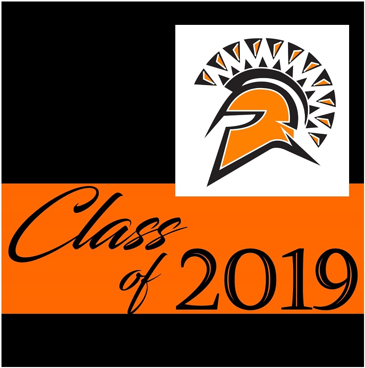 orange and black with 2019 and a spartan head