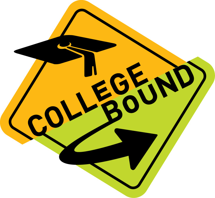 college bound street sign