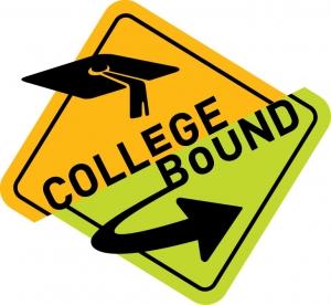 college bound street sign