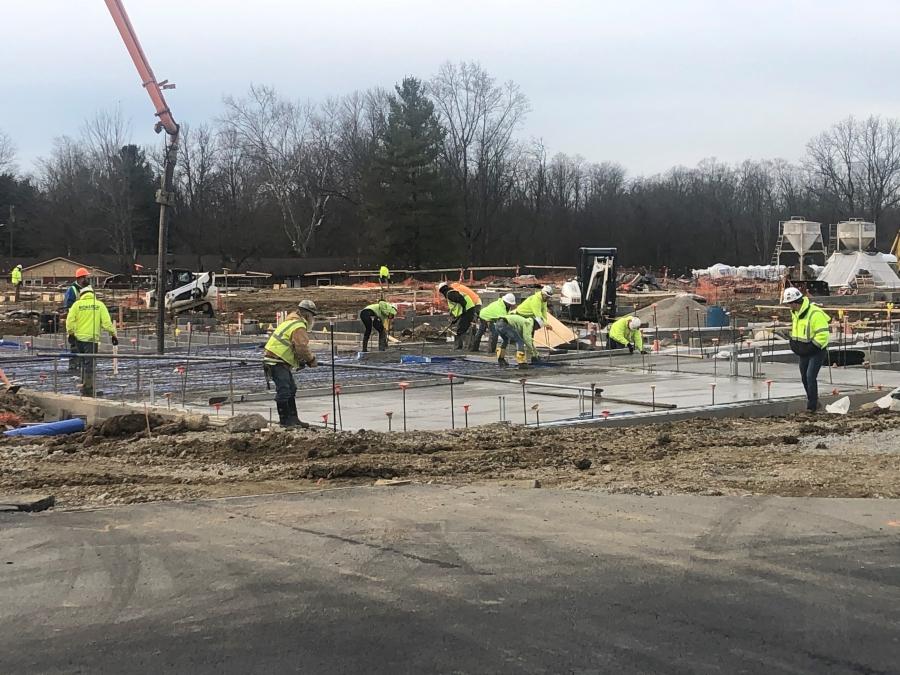 concrete slab on a construction site