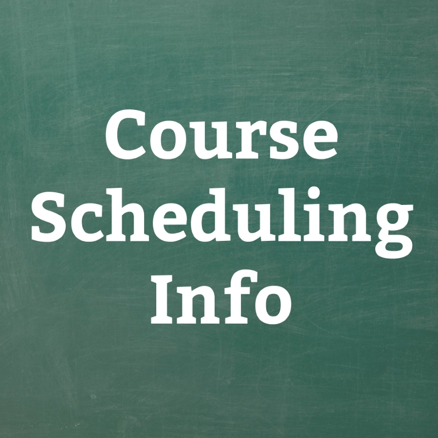 course scheduling words on green background