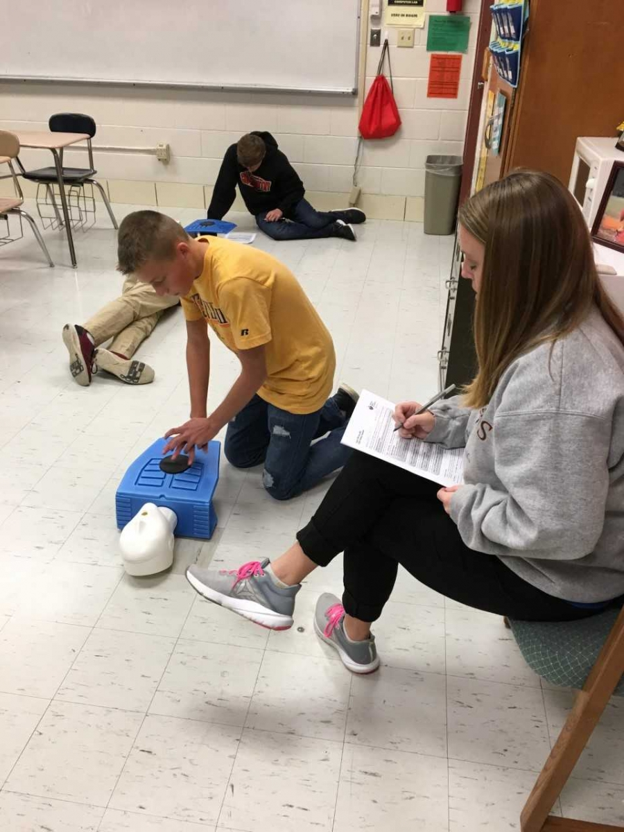 student learning cpr
