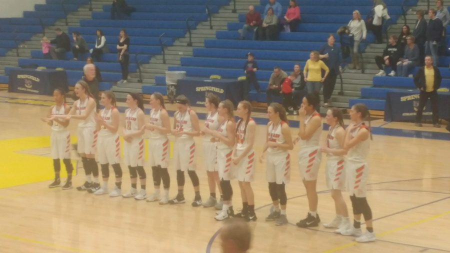 girls basketball team all lined up