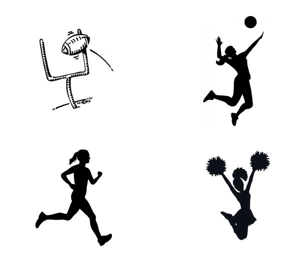 black and white images of various sports