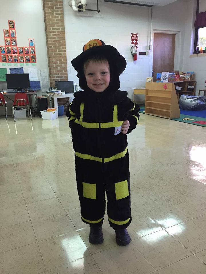 dressed up like a firefighter