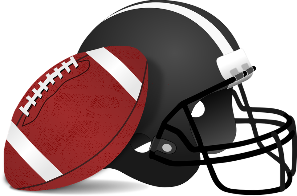 image of a football helmet and football