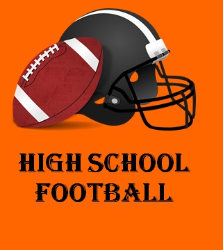 football and helmet on orange background