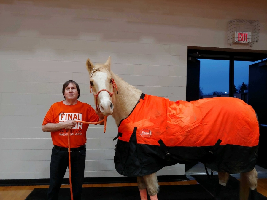 horse wearing an orange blanket and a man
