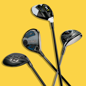 golf clubs with yellow background