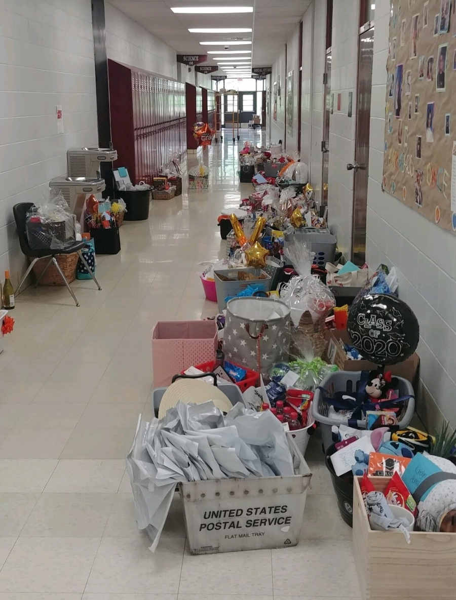 hallway full of gift baskets