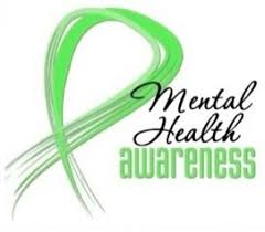 mental health awareness with green ribbon