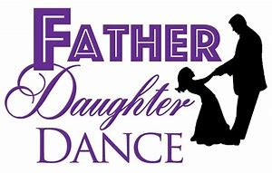 purple image outline with father and daughter dancing