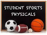 image of soccer ball, football, and absketball with sports physicals written on a blackboard