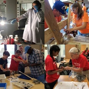 collage of photos of people doing hands-on experiences