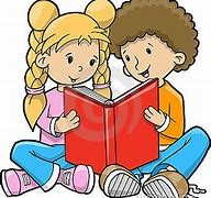 two cartoon figures reading a book