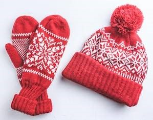 red mittens and hat