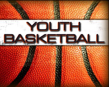youth basketball words on a baskteball