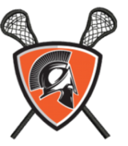orange and black crest with lacrosse sticks and a spartan head