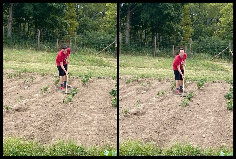 boy hoeing a field