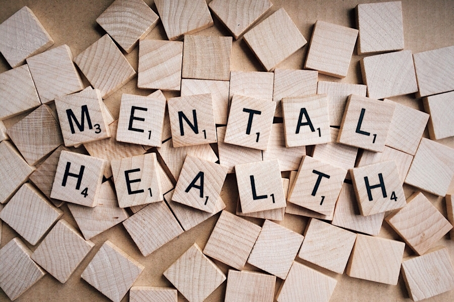 scrabble tiles that spell mental health
